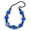 Chunky Resin and Ceramic Bead Black Cotton Cord Necklce in Blue - 66cm L