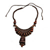 Ethnic Statement Geometric Wood Bead Cotton Cord Necklace In Brown - Adjustable