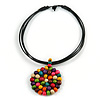 Black Rubber Cord Necklace with Multicoloured Wood Bead Medallion Pendant - 50cm L