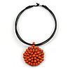 Black Rubber Cord Necklace with Orange Wood Bead Medallion Pendant - 50cm L