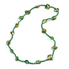 Sea Shell and Glass Bead Necklace In Green - 76cm Long