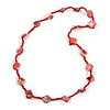 Sea Shell and Glass Bead Necklace In Red - 80cm Long
