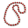 Red Glass Bead with Silver Tone Metal Wire Element Necklace - 70cm Long
