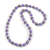 Purple Glass Bead with Silver Tone Metal Wire Element Necklace - 70cm Long