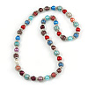 Multicoloured Glass Bead with Silver Tone Metal Wire Element Necklace - 70cm Long