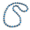 Blue Glass Bead with Silver Tone Metal Wire Element Necklace - 70cm Long
