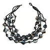 Multistrand Black Sea Shell and Glass Bead Necklace - 60cm Long