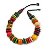 Statement Multicoloured Round and Button Wood Bead Necklace - 56cm L