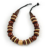 Statement Brown/ Natural Round and Button Wood Bead Necklace - 56cm L