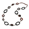 Long Black/ Brown Wooden Link Faux Suede Cord Necklace - 120cm L