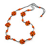 Stunning Orange Wood Flower Black Cotton Cord Long Necklace - 90cm L