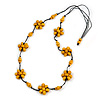 Stunning Yellow Wood Flower Black Cotton Cord Long Necklace - 90cm L