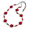 Stunning Red Wood Flower Black Cotton Cord Long Necklace - 90cm L