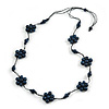 Stunning Dark Blue Wood Flower Black Cotton Cord Long Necklace - 90cm L