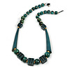 Statement Geometric Teal Wood Bead Necklace - 60cm Long