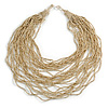 Chunky Antique White Glass Bead Bib Multistrand Layered Necklace - 80cm L