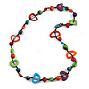 Multicoloured Round and Oval Wooden Bead Cotton Cord Necklace - 84cm Long