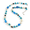 Glass, Resin, Faux Pearl Bead Necklace with Silver Tone Closure (Blue/ Cream/ Black) - 66cm L/ 5cm Ext