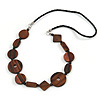 Brown Geometric Wood Bead Black Leather Style  Necklace - 70cm L