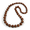 Light Brown/ Natural Wood Bead Necklace - 74cm Long
