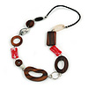 Geometric Wood and Acrylic Bead Black Faux Leather Cord Necklace (Brown, White, Red) - 68cm L