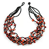 Burnt Orange Shell and Black Glass Beads Multistrand Necklace - 48cm Long