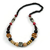 Chunky Geometric Wooden Bead Necklace (Black, Brown, Red) - 70cm L