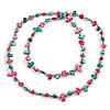 Long Teal, Magenta Shell/ Light Beige Glass Crystal Bead Necklace - 115cm L