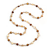 Long Shell, Crystal Bead Necklace in Yellow/ Brown - 116cm L