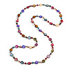 Multicoloured Long Shell, Crystal Bead Necklace - 116cm L