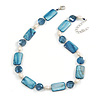 Grayish-blue Glass Bead, Sea Blue Shell, Cream Freshwater Pearl Necklace with Silver Tone Closure - 44cm L/ 5cm Ext