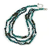 3 Strand Layered Glass/ Shell Bead Necklace In Malachite Green/ Emerald Green with Silver Tone Closure - 50cm L/ 6cm Ext