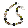 Light Grey Glass Bead, Lime Green/ Black/ Grey Shell Necklace with Silver Tone Closure - 50cm L/ 4cm Ext