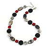 Light Grey Glass Bead, Ox Blood/ Black/ Grey Shell Necklace with Silver Tone Closure - 50cm L/ 4cm Ext