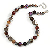 Stunning Glass and Agate Bead Necklace with Silver Tone Closure (Brown, Grey, Purple) - 42cm L/ 6cm Ext