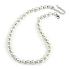 10mm Classic White Glass Bead Necklace with Silver Tone Closure - 44cm L/ 6cm Ext