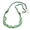 Statement Long Multistrand Glass and Semiprecious Stone Necklace In Jade Green - 90cm L