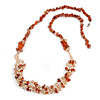 Statement Long Multistrand Champagne Glass Beads and Burnt Orange Semiprecious Nuggets Necklace - 90cm L