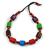 Chunky Multicolured Bone and Wood Bead Black Cord Necklace - 62cm Long