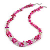 Stylish Cluster Shell and Glass Bead with Crystal Ring Necklace In Silver Tone (Deep Pink) - 45cm L/ 5cm Ext
