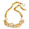 Long Stylish Shell and Glass Bead with Crystal Ring Necklace In Silver Tone (Mustard Yellow/ Light Citrine) - 84cm L/ 5cm Ext