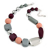Statement Geometric Resin Bead Necklace In Silver Tone (Grey, Purple, Pink, Silver) - 50cm L/ 6cm Ext