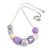 Cluster Wood and Acrylic Bead with Light Silver Tone Chain Necklace (Grey, Lavener) - 43cm L/ 6cm Ext