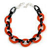 Statement Chunky Oval Link Acrylic Necklace (Black/ Orange) in Silver Tone - 63cm L/ 5cm Ext