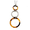 Delicate Triple Circle Tortoise Acrylic and Silver Tone Metal Pendant with Chain - 40cm L/ 3cm Ext