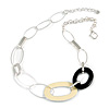 Stylish Chunky Oval Link Necklace in Silver Tone Metal (Cream/ Black) - 48cm L/ 5cm Ext