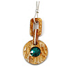 Oversized Brown Round Resin Pendant with Green Crystal on Light Silver Thick Chain - 88cm L/ 5cm L