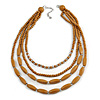 Light Brown Mulstistrand Layered Wood and Glass Bead Necklace - 80cm L/ 7cm Ext