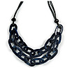 Trendy Dark Blue with Marble Effect Acrylic Large Oval Link Black Cord Necklace - 60cm L/ 5cm Ext