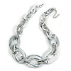 White/ Grey With Marble Effect Acrylic Oval Link Necklace - 52cm L/ 7cm Ext